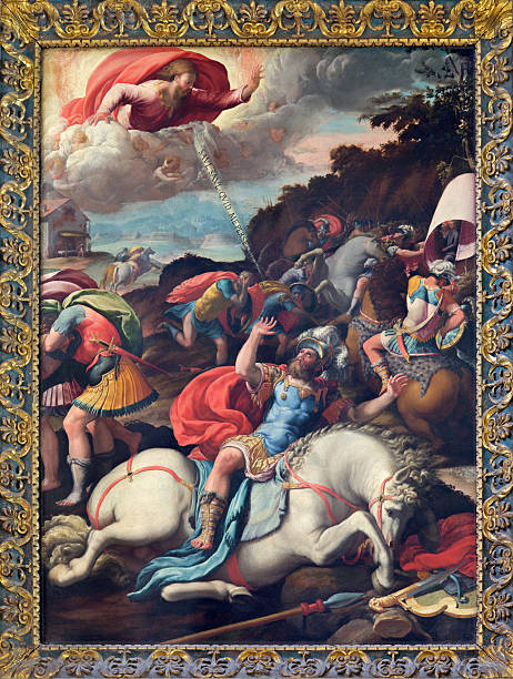Rome - The Conversion of st. Paul painting Rome - The Conversion of st. Paul painting of Marco da Siena (1545) in church Santo Spirito in Sassia. renaissance stock illustrations