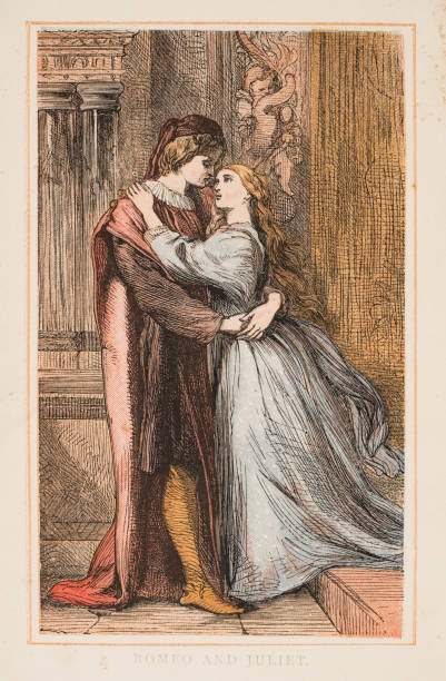 romeo and juliet by shakespeare engraving 1870 - romeo and juliet stock illustrations, clip art, cartoons, & icons
