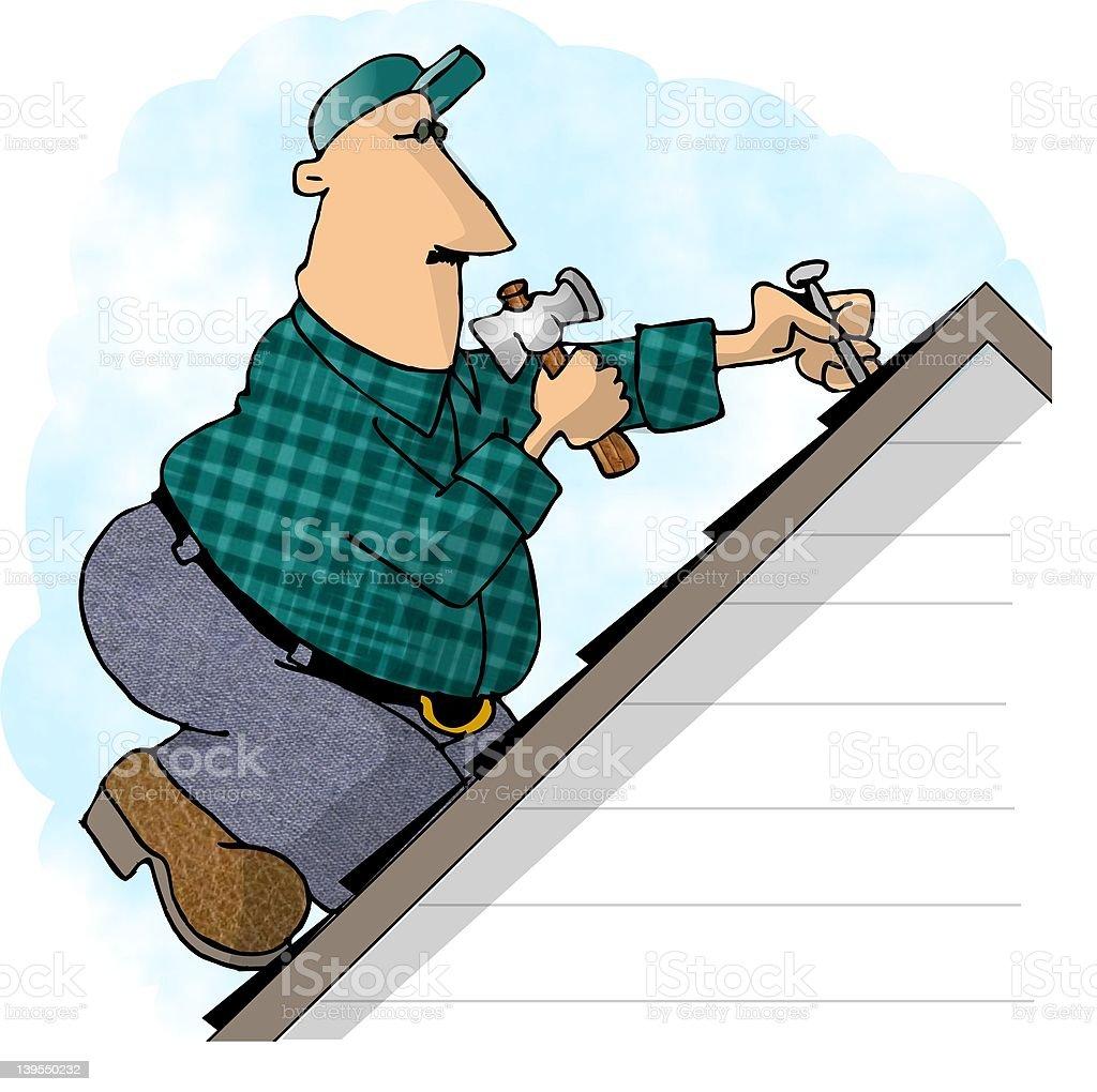 Roofer vector art illustration