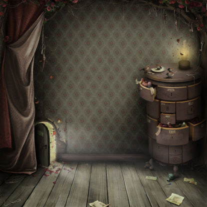 Room with a small door and the magic chest.