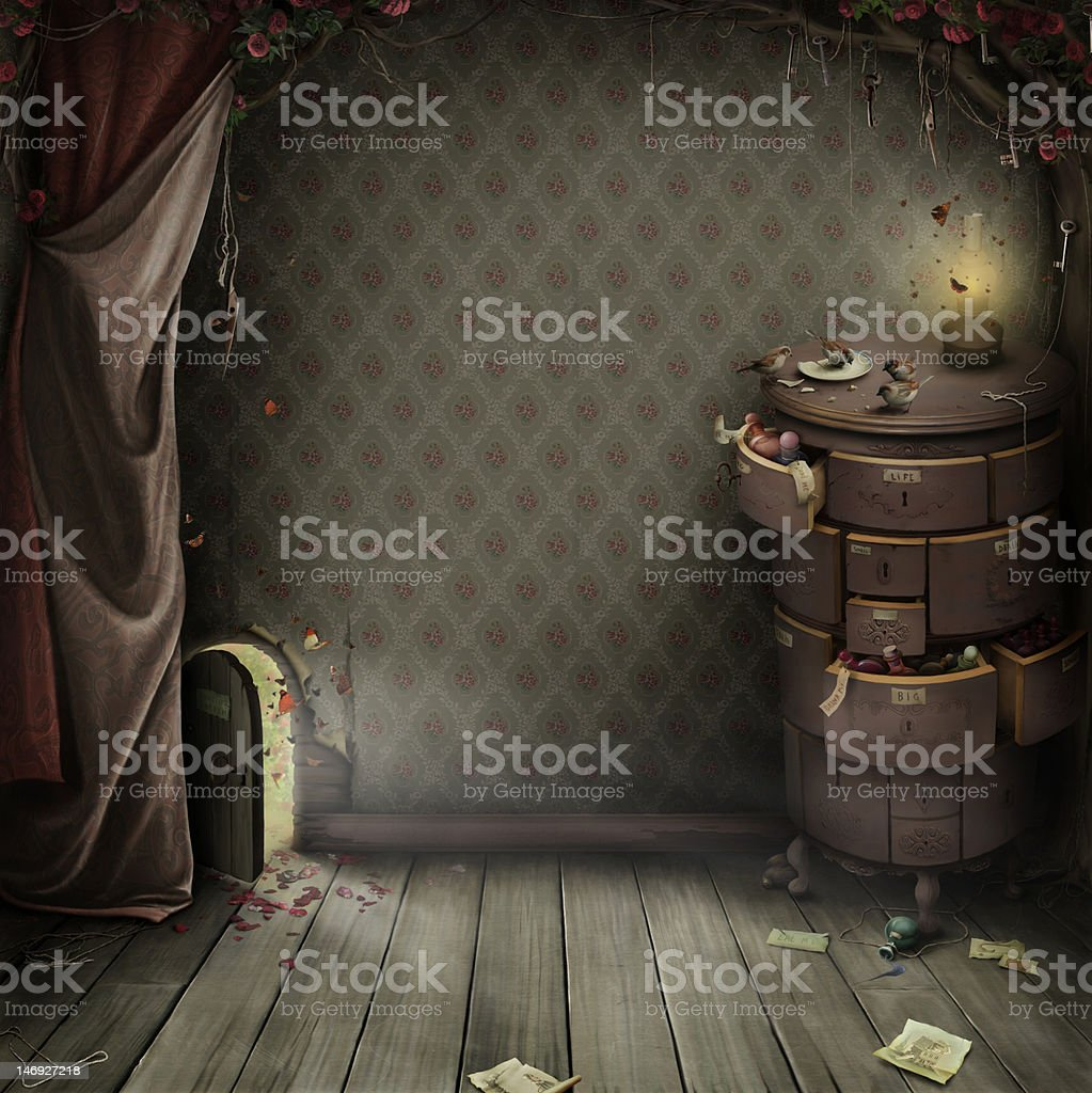 Room with a small door and the magic chest. vector art illustration