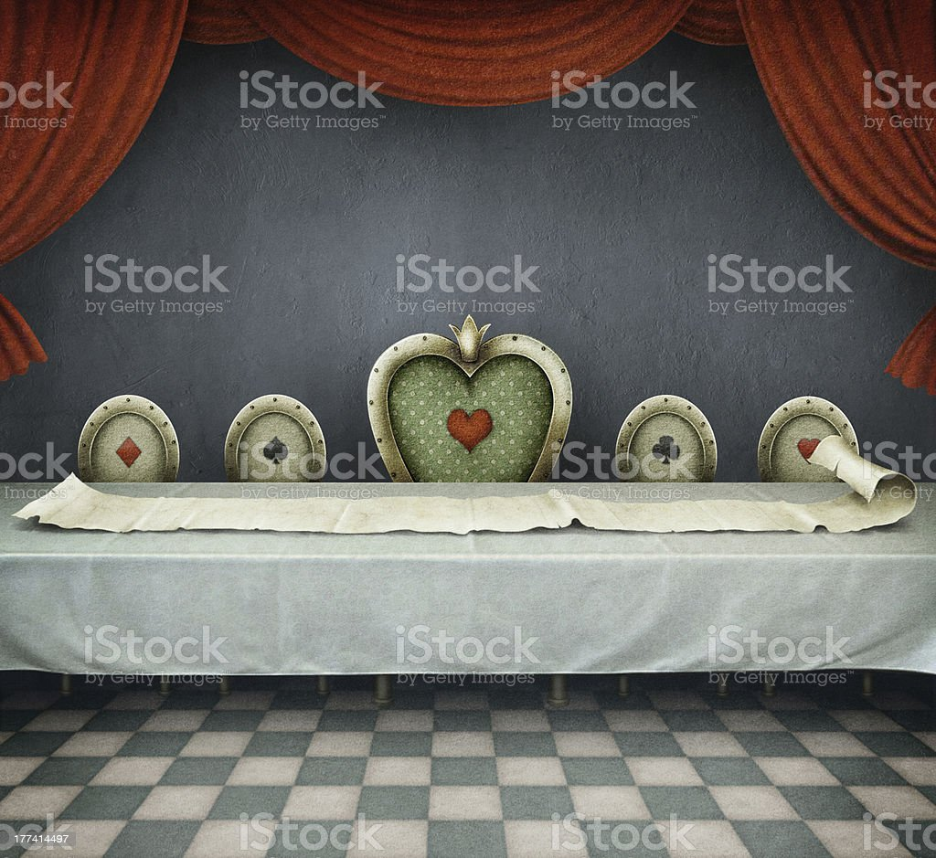 Room with checkerboard floor and long table with scroll vector art illustration
