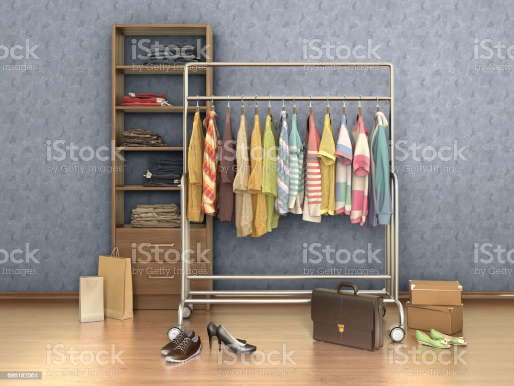 room with clothes,  shelf, boxes and shoes, 3d illustration vector art illustration
