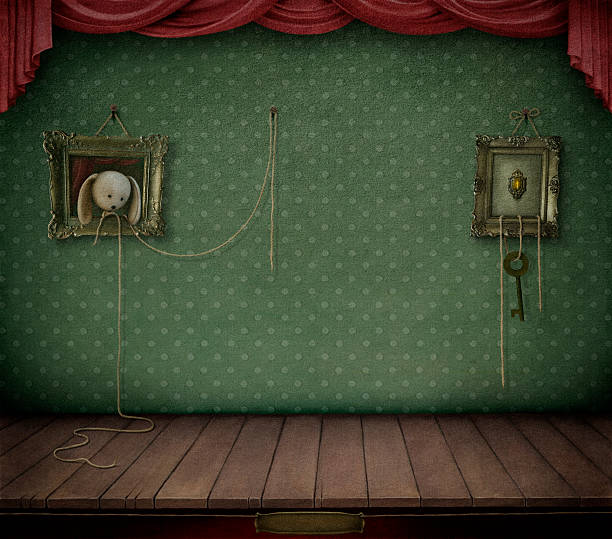 stockillustraties, clipart, cartoons en iconen met room with frame. - photography curtains