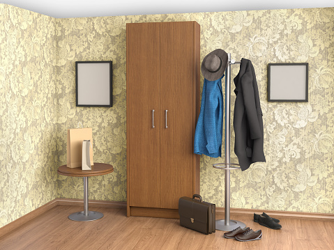 room with, hanger floor, shoes, clothes, cupboard, table, 3d illustration
