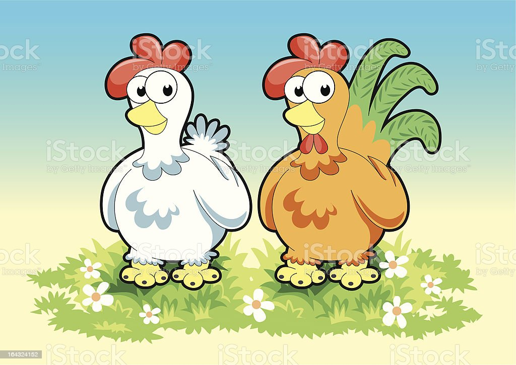 Rooster and Hen royalty-free stock vector art