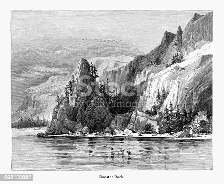 Very Rare, Beautifully Illustrated Antique Engraving of Rooster Rock, Oregon, United States, American Victorian Engraving, 1872. Source: Original edition from my own archives. Copyright has expired on this artwork. Digitally restored.