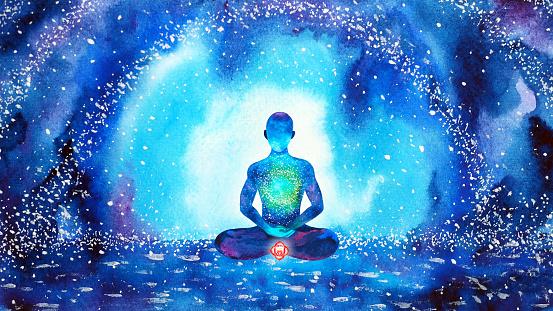 root red chakra human meditate mind mental health yoga spiritual healing meditation peace watercolor painting illustration design abstract universe
