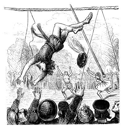 Rope walker acrobat falling