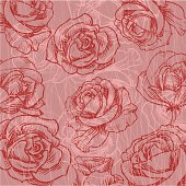 Rose Background. Hand Drawn Illustration.