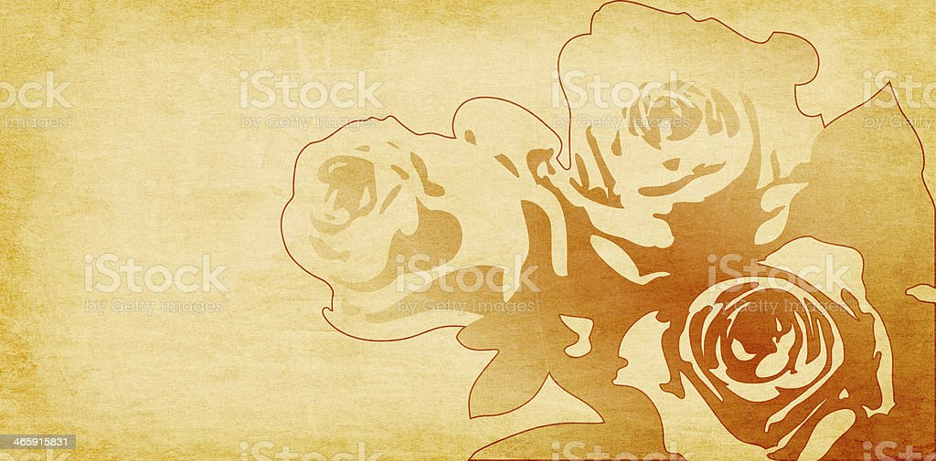 rose drawing on beige paper background royalty-free stock vector art