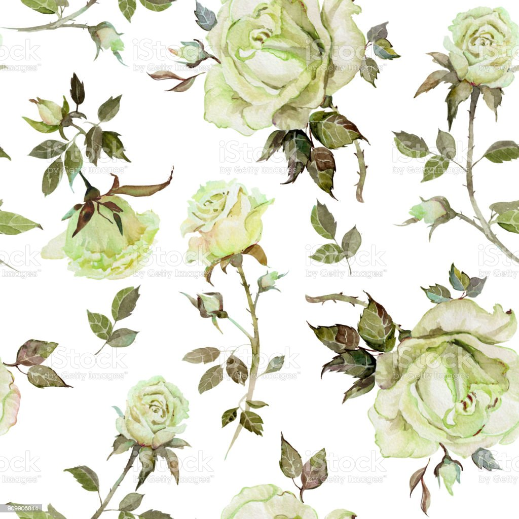 Rose Flower On A Twig Seamless Floral Pattern Watercolor Painting