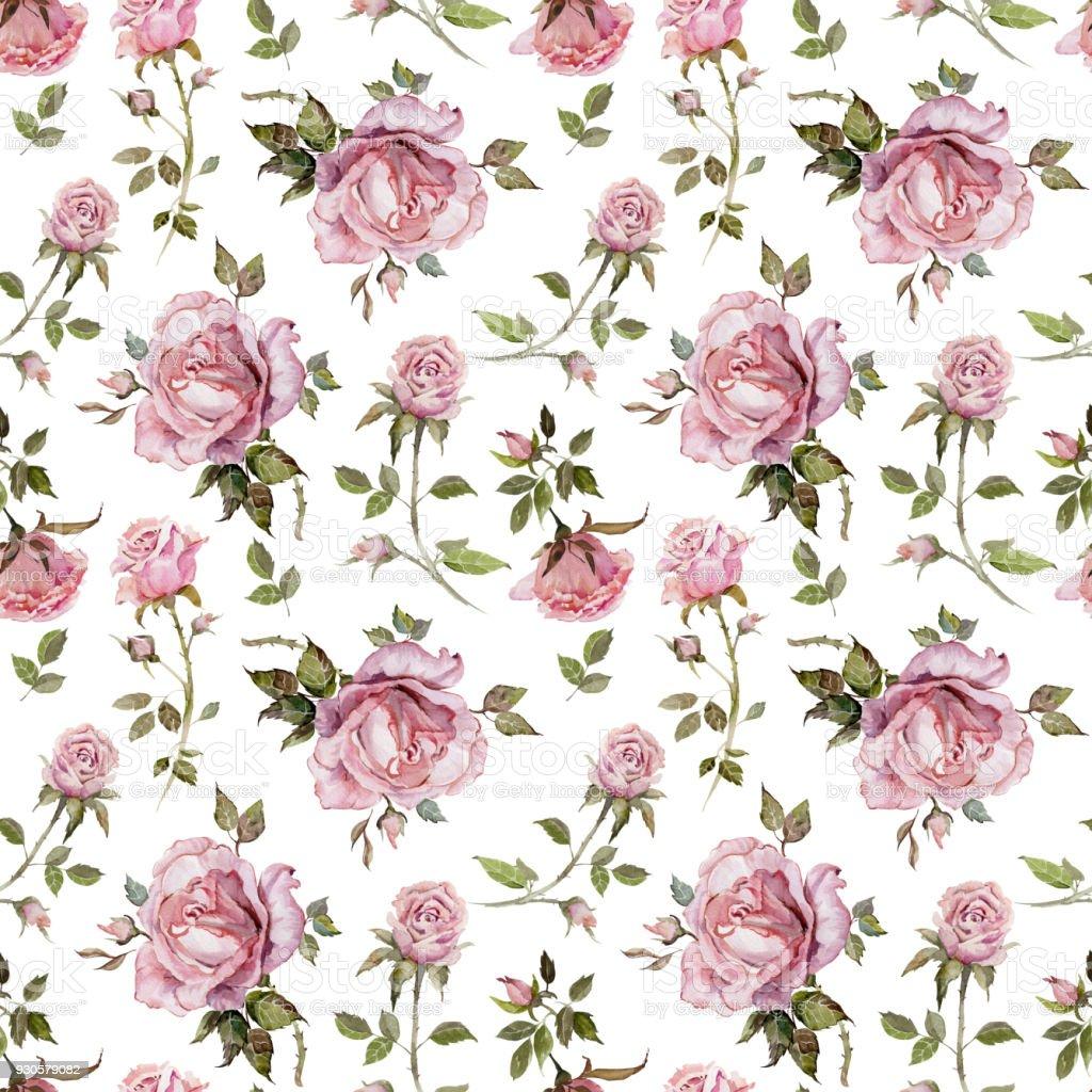 Rose fleur sur une brindille. Motif floral sans soudure.  Peinture à l'aquarelle. - Illustration vectorielle