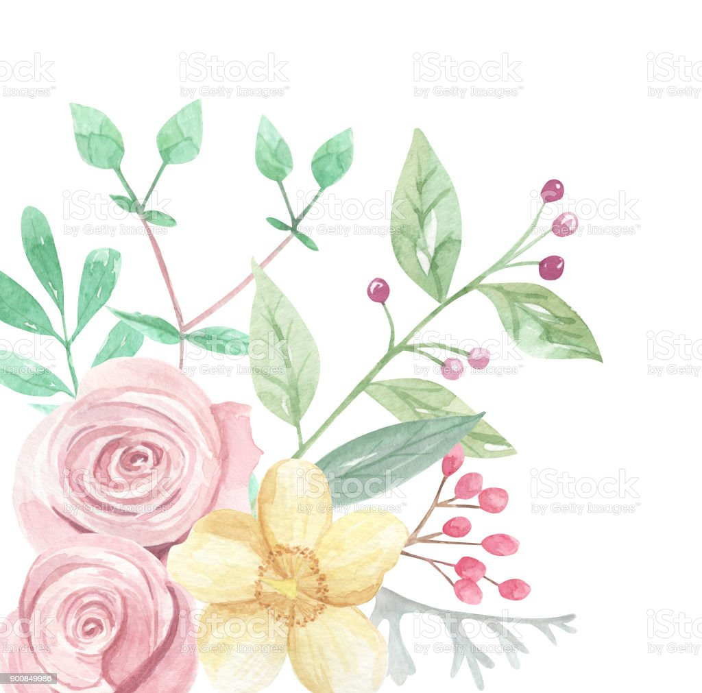 Rose Watercolor Pink Yellow Corner Flower Frame Border Royalty Free