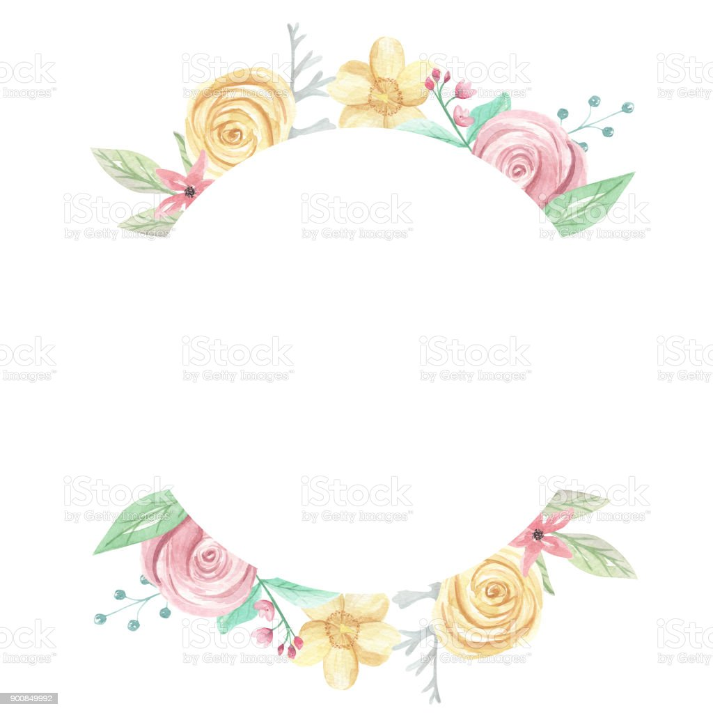 Rose Watercolor Pink Yellow Flower Circle Frame Border Stock Vector
