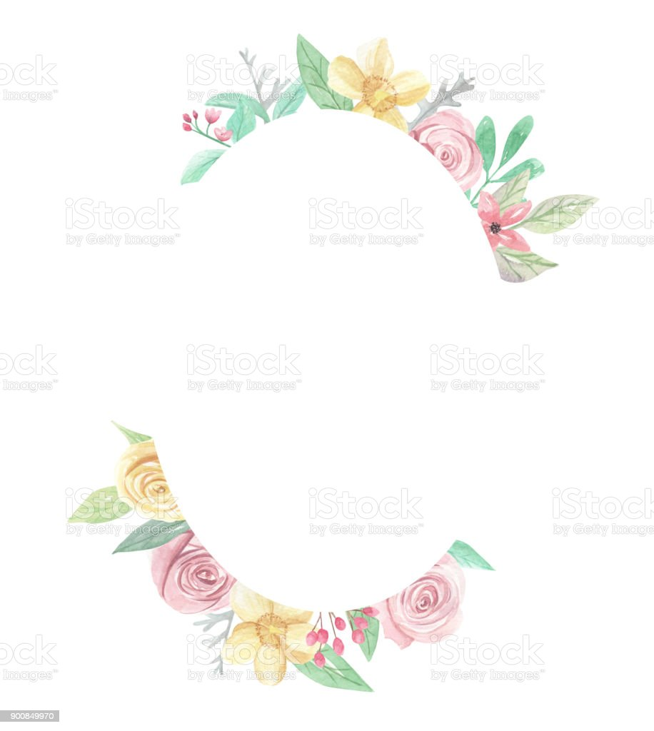 Rose Watercolor Pink Yellow Flower Oval Frame Border Stock Vector