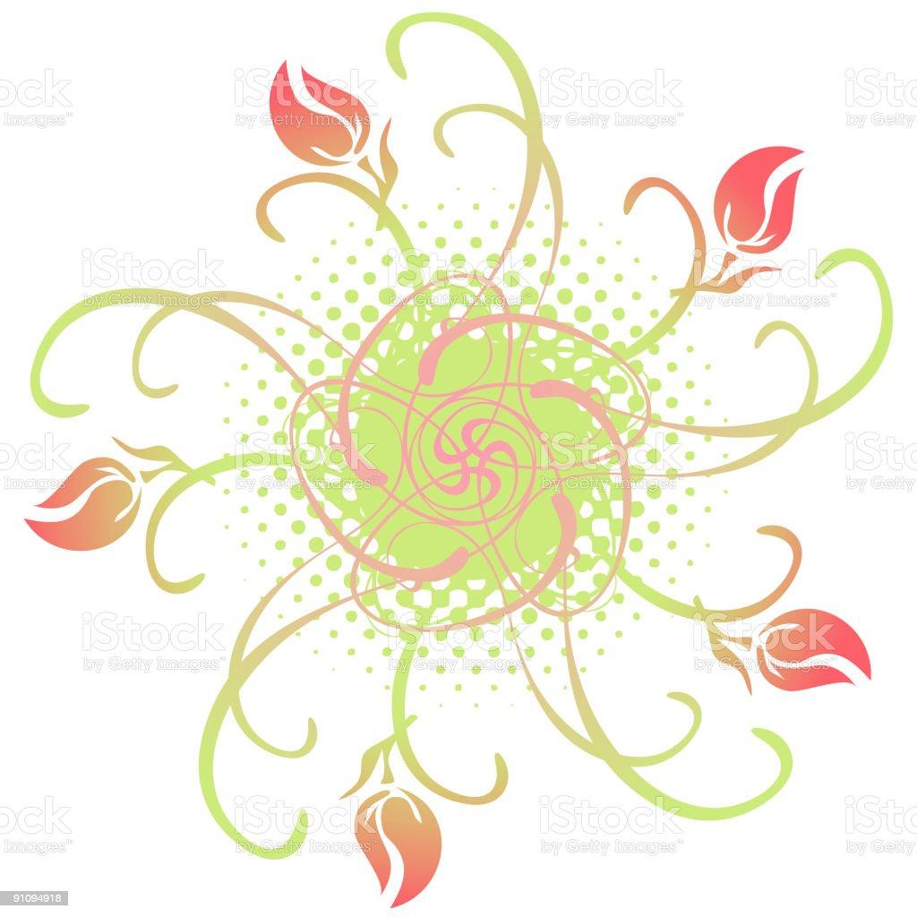 Rosebud Flourish vector art illustration