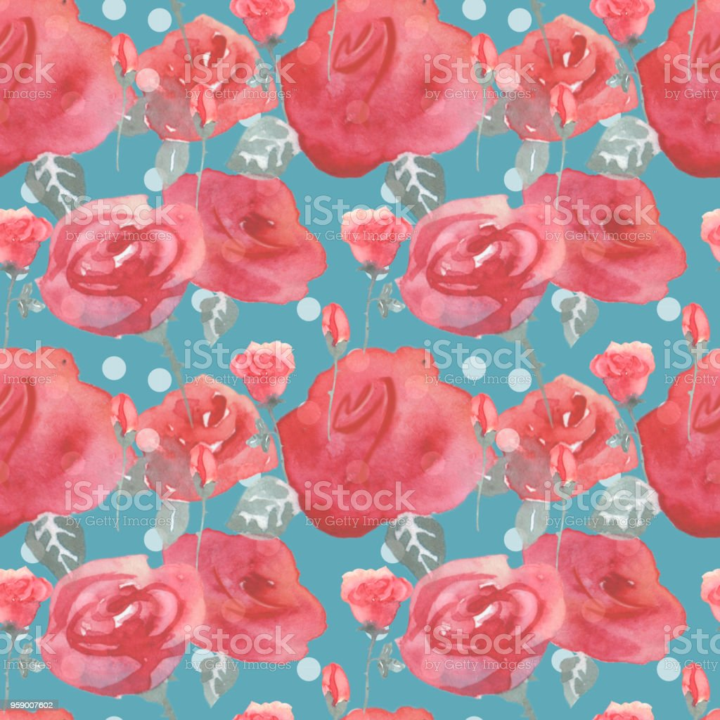 Roses Flowers And Buds Pink Blue Vintage Seamless Pattern Background