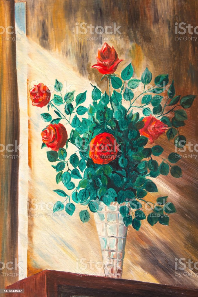 Roses on the window in the rays of  sun vector art illustration