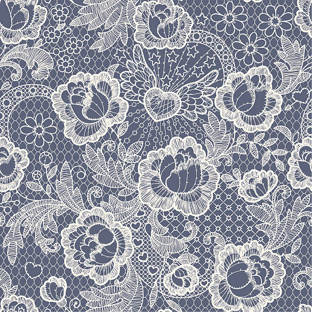 Roses Seamless Pattern  lace textile stock illustrations