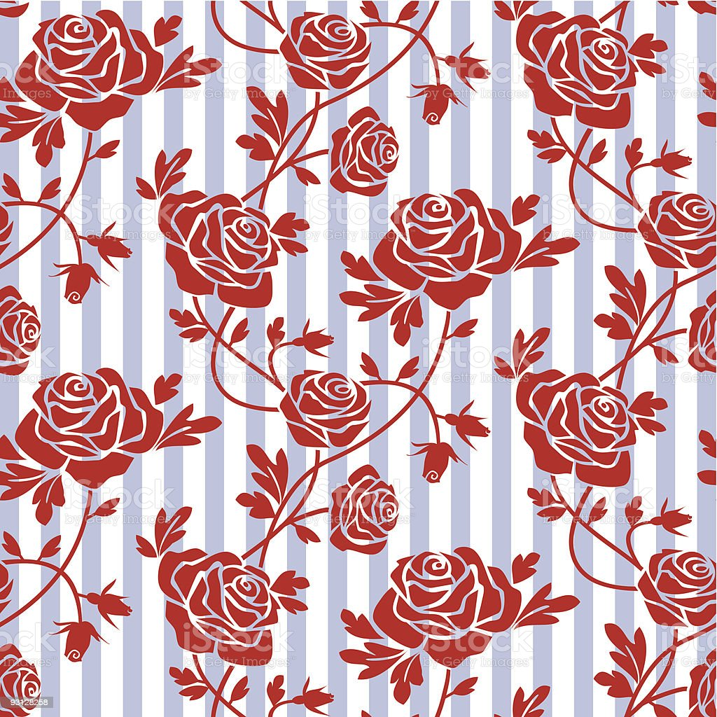 Roses seamless pattern vector art illustration