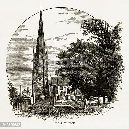 Very Rare, Beautifully Illustrated Antique Engraving of Ross Church in Ross-on-Wye, Herefordshire, England Victorian Engraving, 1840. Source: Original edition from my own archives. Copyright has expired on this artwork. Digitally restored.