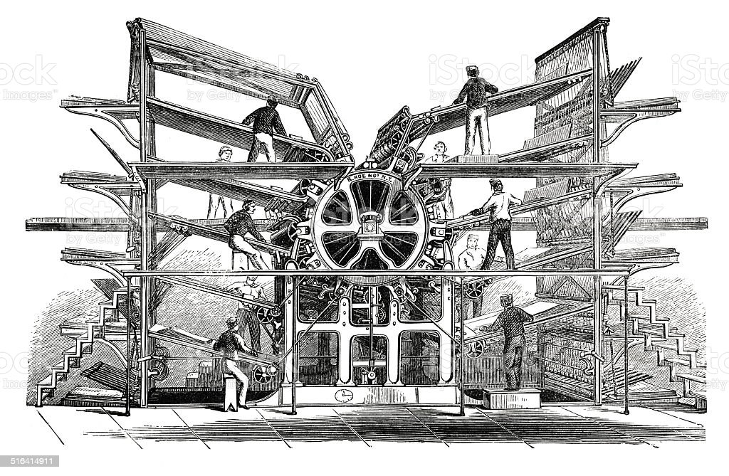 Rotary printing press (antique engraving) vector art illustration