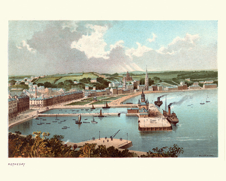 Vintage engraving of Rothesay, the principal town on the Isle of Bute, in the council area of Argyll and Bute, Scotland.