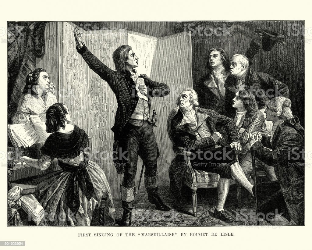 Rouget de Lisle sings la Marseillaise for the first time vector art illustration