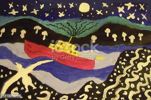 istock Rough seas on a moonlit night 1213015725