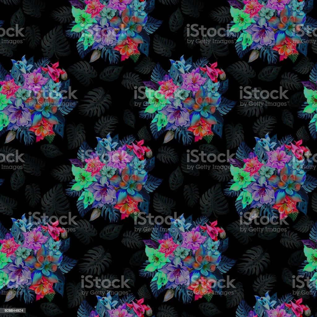 Round bunch of beautiful columbine flowers or aquilegia and exotic round bunch of beautiful columbine flowers or aquilegia and exotic monstera leaves on black background izmirmasajfo