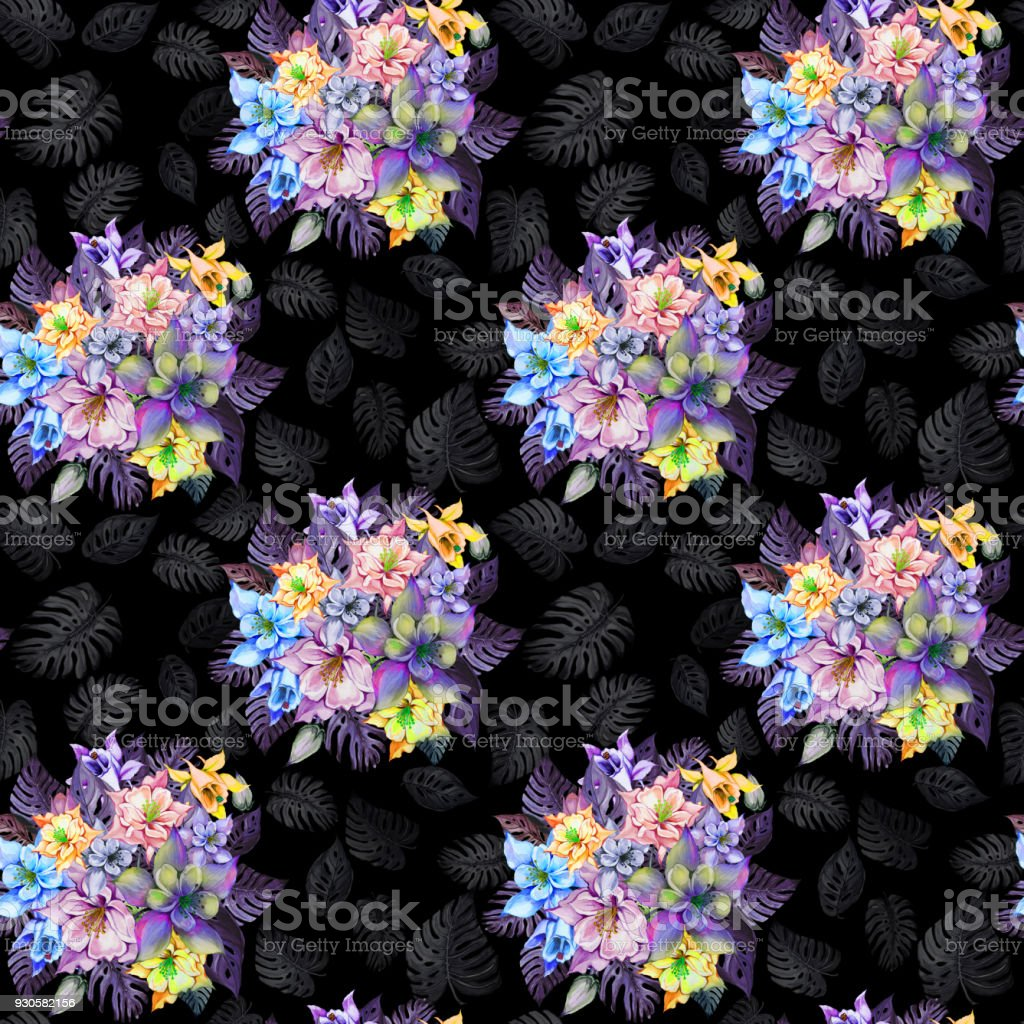 Round bunch of beautiful columbine flowers or aquilegia and exotic round bunch of beautiful columbine flowers or aquilegia and exotic monstera leaves on black background izmirmasajfo Image collections