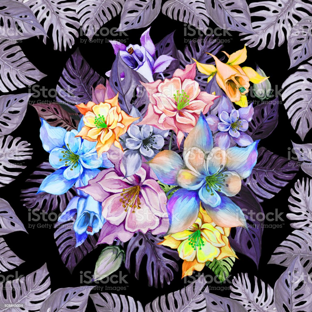 Round Bunch Of Columbine Flowers Or Aquilegia In Square Frame Made