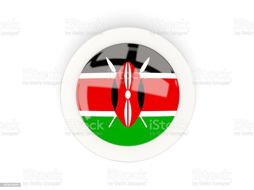 Round flag of kenya with carbon frame vector art illustration