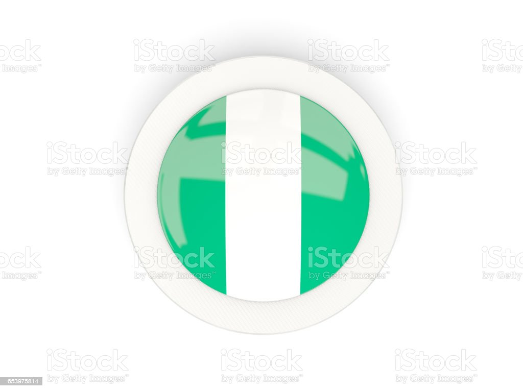 Round flag of nigeria with carbon frame vector art illustration