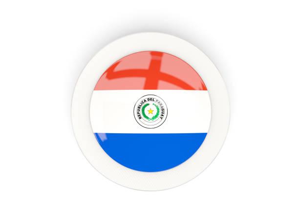 Ronda de bandera de paraguay con cuadro de carbono - ilustración de arte vectorial