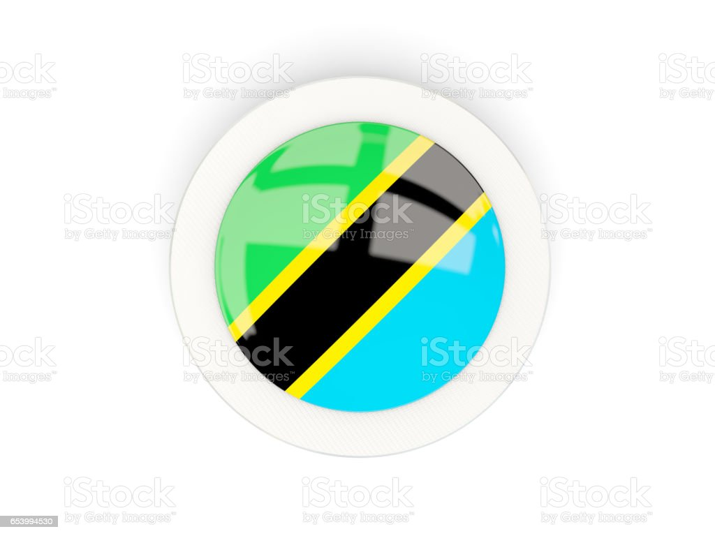 Round flag of tanzania with carbon frame vector art illustration