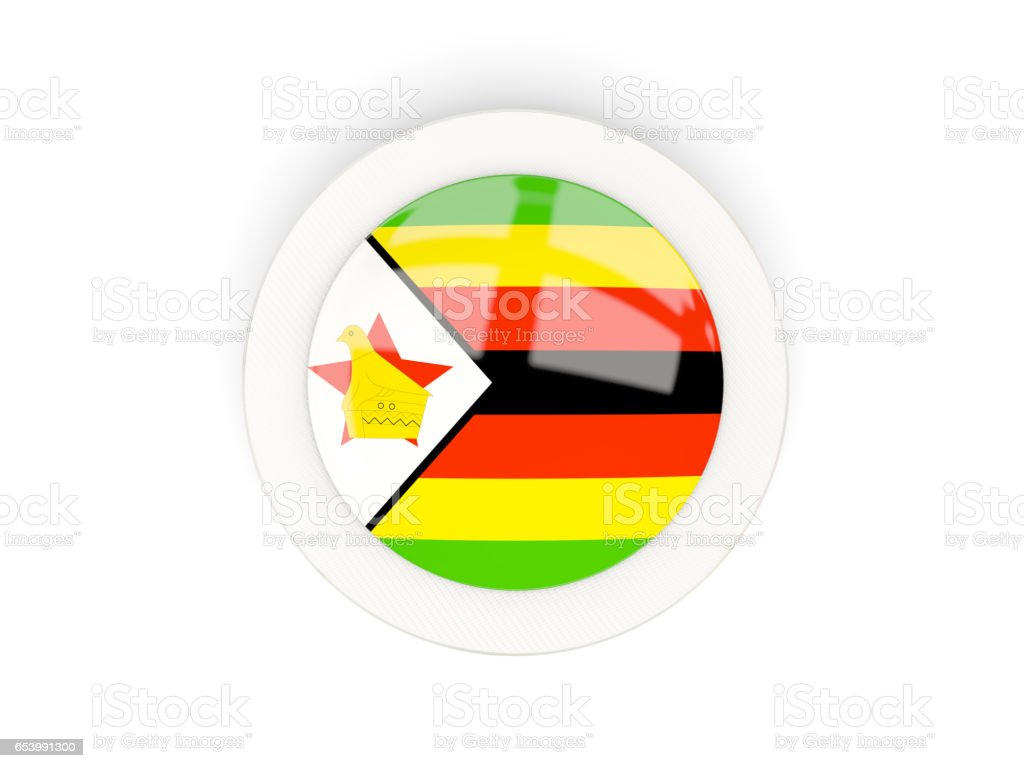 Round flag of zimbabwe with carbon frame vector art illustration