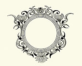 Vintage engraving of a Round floral and bee design element frame