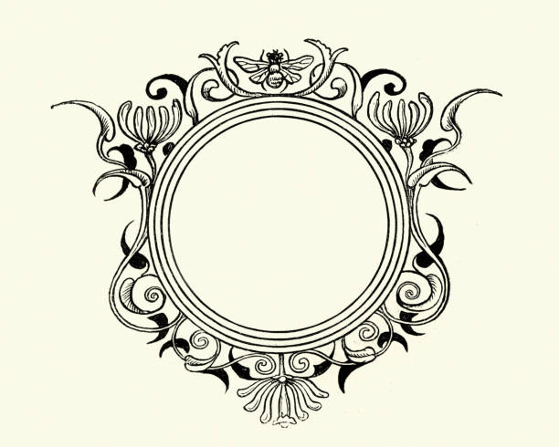 Round floral and bee design element frame Vintage engraving of a Round floral and bee design element frame bee borders stock illustrations