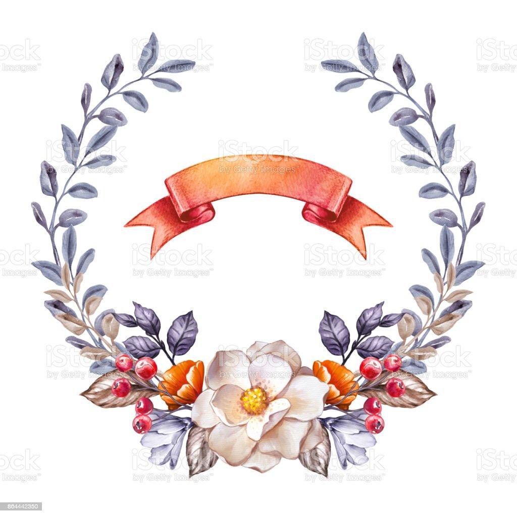 Runde Floral Lorbeerkranz Herbst Botanische Rahmen Fallen Blumen
