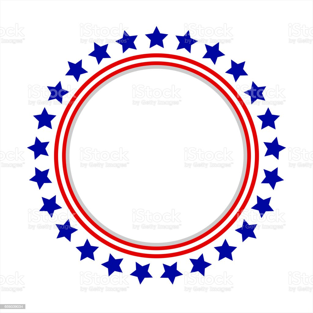 Round frame American flag stylized logo vector art illustration