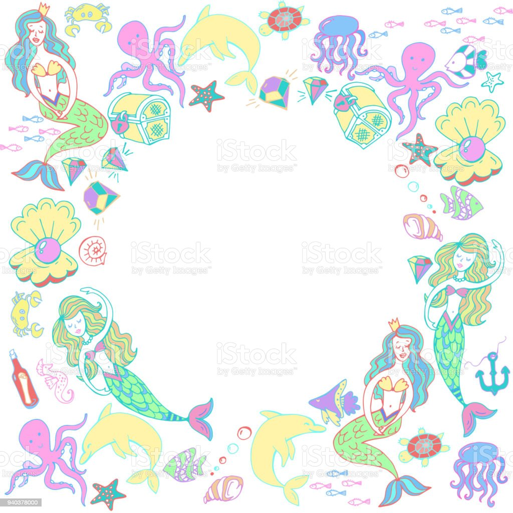 Round Frame Set The Little Mermaid And The Underwater World Fairy