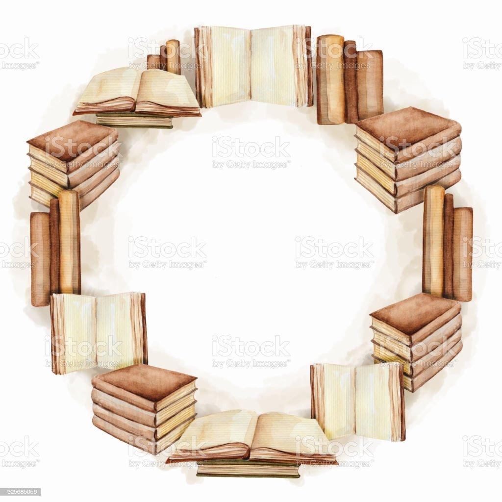 Runde Rahmen Mit Bücher Aquarell Malerei Stock Vektor Art und mehr ...