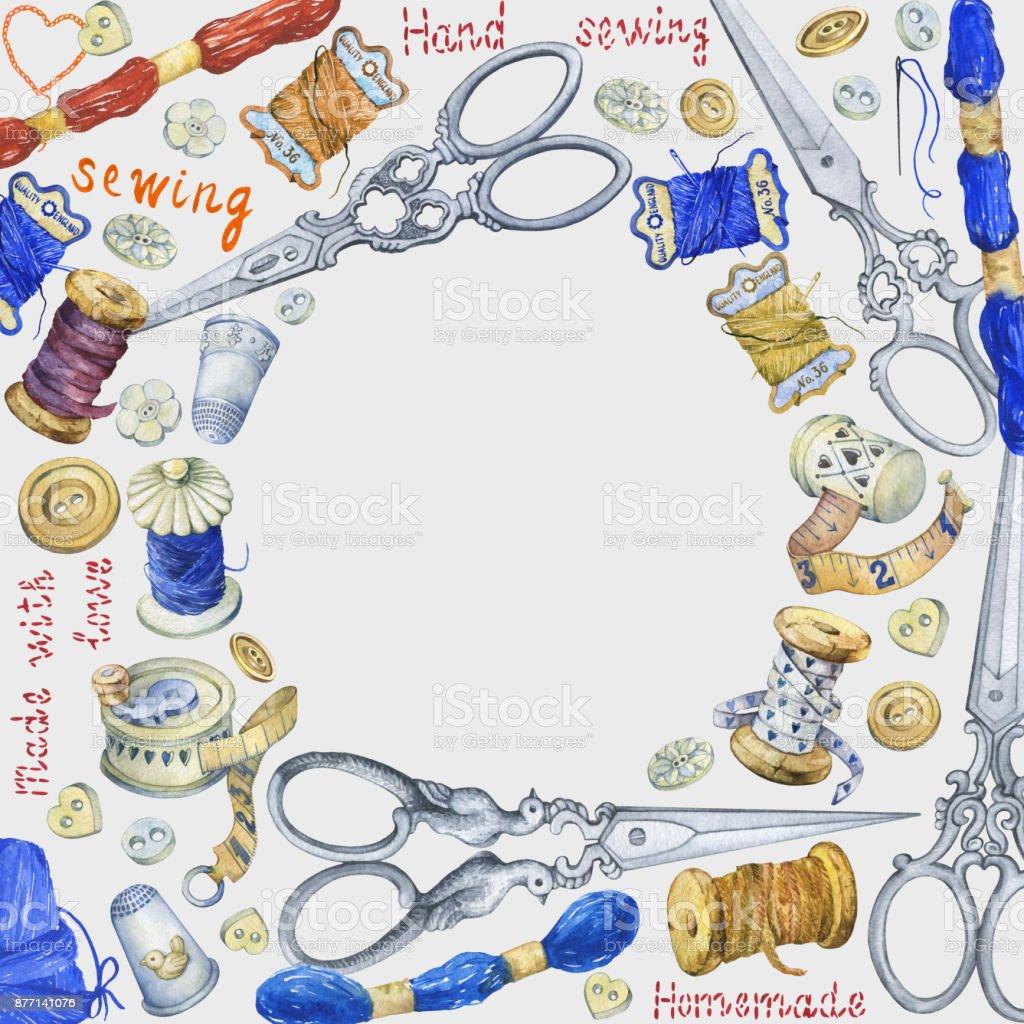 Runde Rahmen Mit Verschiedenen Vintage Objekte Zum Nähen Handwerk ...