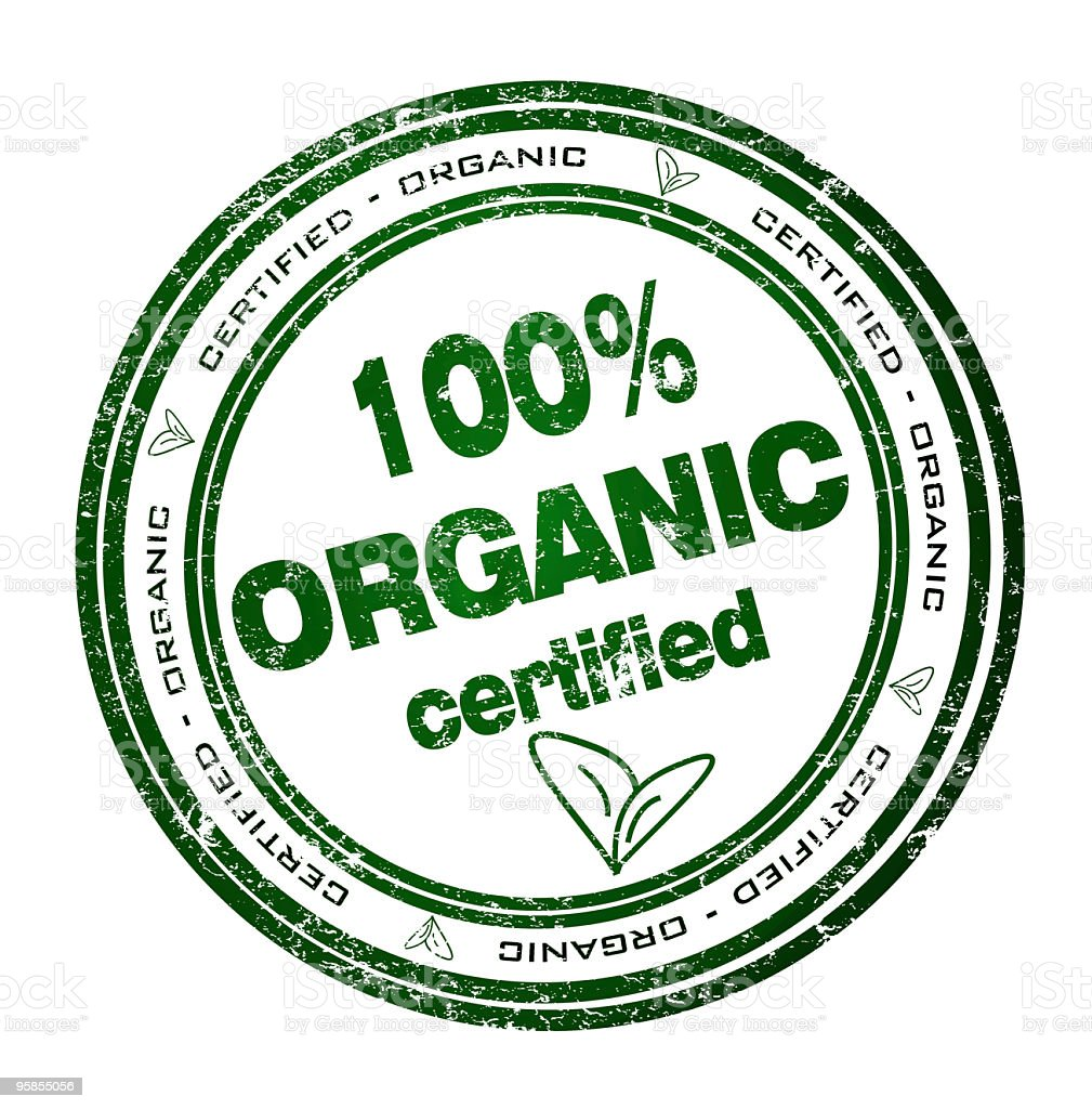 Round green stamp certificate for 100% organic products royalty-free stock vector art