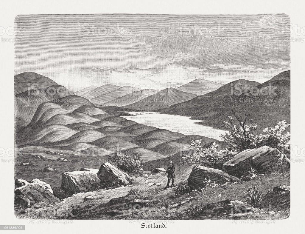 Round hump landscape in Scotland, wood engraving, published in 1897 royalty-free round hump landscape in scotland wood engraving published in 1897 stock vector art & more images of 19th century