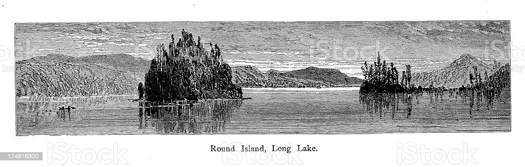 Round Island, Long Lake, New York vector art illustration