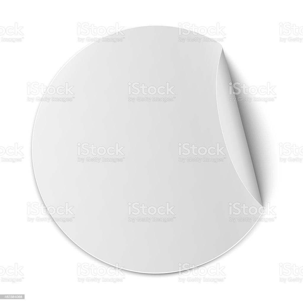 Round paper sticker with bent edge isolated on white background vector art illustration