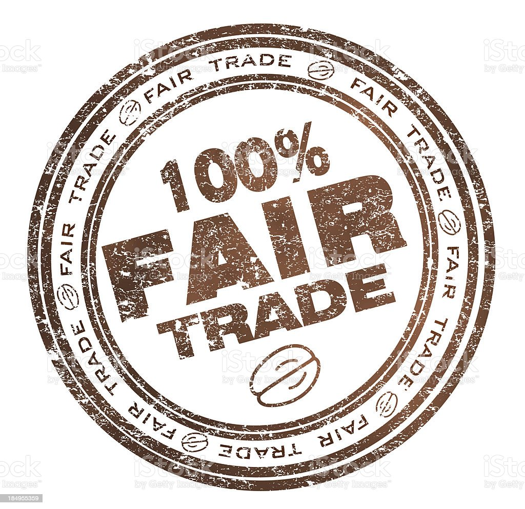 Round stamp with text 100% Fair Trade royalty-free stock vector art
